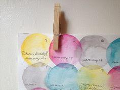 DIY Watercolor Fridge Calendar