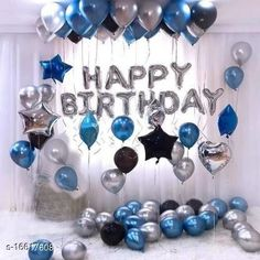 Gifts & Mugs 1 Happy Birthday Letter Foil Balloons silver  With 30 set of blue ,Silver and Black Balloons 1 pcs silver heart +1 pcs star silver combo decoration kit  Material: Non-Toxic Pack: Pack of 1 Product Length: 21 cm Product Breadth: 15 cm Product Height: 3 cm Country of Origin: India Sizes Available: Free Size   Catalog Rating: ★3.9 (449)  Catalog Name: Classic Soft Toys CatalogID_3321070 C127-SC1268 Code: 472-16617608-507
