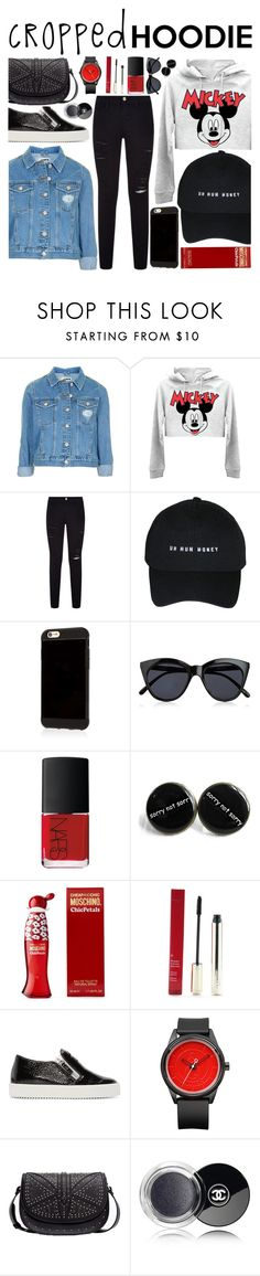 """""""Micky Mouse"""" by saraishi ❤ liked on Polyvore featuring Topshop, Frame Denim, Le Specs, NARS Cosmetics, Moschino, Clarins, Giuseppe Zanotti, MANGO and Chanel"""
