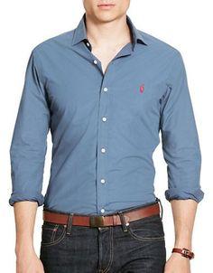 Polo Ralph Lauren Cotton Poplin Sport Shirt Men's Aerial Blue Medium