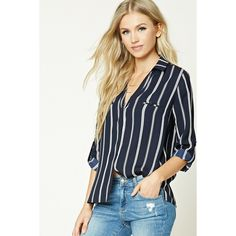 Forever21 Pinstripe Collared Shirt (65 BRL) via Polyvore featuring tops, button collar shirt, button shirt, button sleeve shirt, woven shirts e mock shirt
