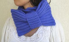 Periwinkle Blue Bow Infinity Scarf, Chunky Neck Warmer / Cowl, crocheted, handmade, Women's Accessory by vintagelookcreations