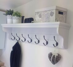 Large White Hallway Coat Rack With Shelf and 7 Cast Iron Hooks - Available In A Choice Of Farrow & Ball Colours Hallway Coat Rack, Coat Rack Shelf, Hallway Storage, Coat Hooks With Shelf, Coat Racks, Hallway Shelf, Upstairs Hallway, Coat Hanger, Wall Shelves
