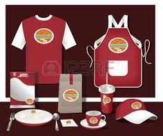 Vector restaurant cafe set flyer menu package t shirt cap uniform design layout set of corporate ide Stock Vector