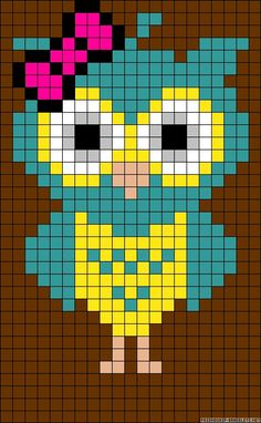 This Pin was discovered by Dor Owl Patterns, Bead Loom Patterns, Alpha Patterns, Perler Patterns, Beading Patterns, Bracelet Patterns, Cross Stitch Owl, Cross Stitch Designs, Cross Stitching