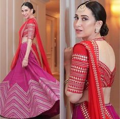 Karishma Kapoor Displays Her Best Shades Of Ethnic This Festive Season - HungryBoo Source by abengalibride. Choli Designs, Bridal Blouse Designs, Saree Blouse Designs, New Blouse Designs, Indian Bridal Fashion, Indian Wedding Outfits, Stylish Dress Designs, Stylish Dresses, Dress Indian Style