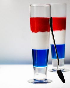 THE FIRECRACKER • alcoholic beverage • Ingredients • BLUE Layer: 2 C sugar, 1 C water, ¼ t rum extract or coupla splashes rum, 1-2 drops royal blue gel food color • WHITE Layer: 3 med bananas, ¼ C cream of coconut, ¼ C pineapple juice, ⅓ C cream • RED Layer: 1 C fresh or frozen raspberries, ¼ C raspberry syrup, 2 C ice, 1-2 drops super red gel paste food color