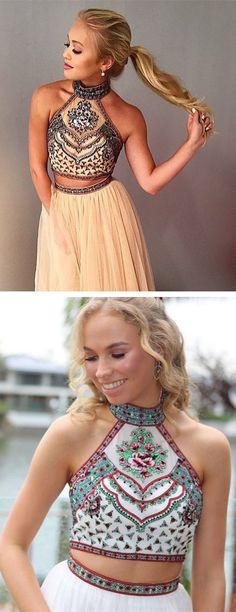 two piece prom dress, 2017 prom dress, long prom dress, champagne prom dress, white prom dress