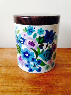 Delightful Vintage Storage Tin    Made by Foxs Galcier Mints circa 1960s, have been unable to locate another like this! Stunning floral design in