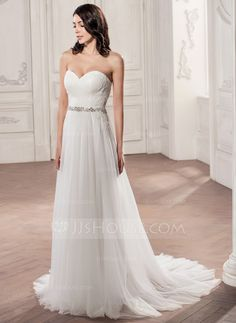 A-Line/Princess Sweetheart Court Train Tulle Wedding Dress With Ruffle Beading Appliques Lace Sequins (002058757) - JJsHouse
