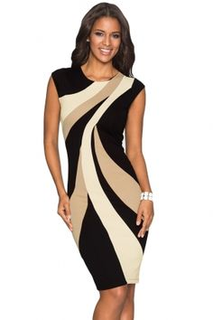 bd746f53eb Taupe Accents Colorblock Geometric Pattern Tube Dress. Office DressesDresses  For WorkSexy DressesBeautiful DressesBlack Bodycon ...