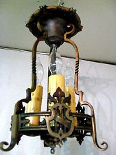 the light we're looking for.  No luck yet.  Vintage Antique Bronze Arts & Crafts Mission Ceiling 3 Light Chandelier 12 1/2""