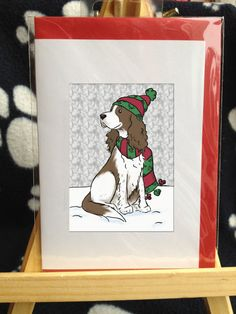 Christmas  Springer Spaniel Card by dachcrafts on Etsy