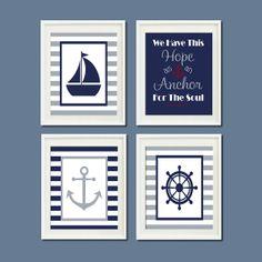 Nautical Decor Nursery Wall Art Navy Gray by LovelyFaceDesigns,