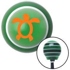 Orange Simple Turtle Green Stripe Shift Knob with M16 x 15 Insert