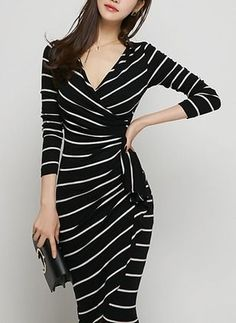 Cotton Stripe 1022316\/1022316 Sleeves Mid-Calf Elegant Dresses (1022316) @ floryday.com