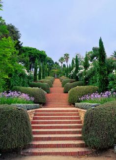 Jardins Marimurtra in Spain. Photo by Eric Lopez Contini. Beautiful Places To Visit, Beautiful World, Beautiful Gardens, Garden Stairs, Barcelona Travel, Amazing Buildings, Scenic Photography, Spain And Portugal, Parcs