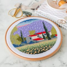 Inspired by Italian landscapes, @ponystitches has created this cross-stitch design using DMC Stranded Cotton embroidery floss. Dmc Embroidery Floss, Embroidery Designs, Pattern Design, Free Pattern, Flamingo Pattern, Stationery Design, Color Card, Cross Stitch Designs, Wool Yarn