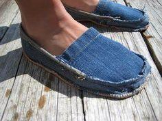 Denim slippers ~ Homemade from jeans.