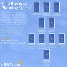 Business Planning Tarot Spread by Biddy Tarot, awesome layout to help all your creative entrepreneurs out there!