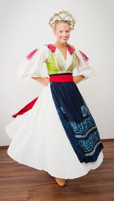 Miss Slovensko Kristina Krajčírová, Traditional Fashion, Traditional Dresses, Beautiful Costumes, Beautiful Outfits, Bratislava, Ukraine, Costumes Around The World, Ethnic Dress, Festival Dress