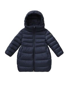 LONG NAVY BLUE QUILTED JACKET WITH EGG-SHAPED BOTTOM - girl 2-14  50e97372c