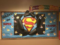 Superhero Bulletin Board / Leader In Me Superhero Bulletin Boards, Superhero Classroom Decorations, Bulletin Board Borders, Bulletin Board Display, Classroom Bulletin Boards, School Decorations, School Themes, Classroom Themes, School Ideas