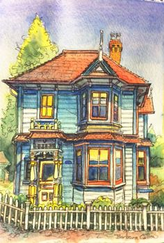Fernwood colour watercolour and ink Impressionist Paintings, Canadian Artists, Watercolor And Ink, Diy Projects To Try, Still Life, House Design, Landscape, Portrait, Design Ideas