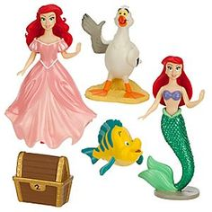 Your Little Mermaid's imagination will dive into fairytale adventures with our Ariel Figure Fashion Set. Featuring two Ariel figures, Flounder and Scuttle, this playset will bring under the sea life to land!