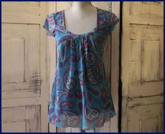 Anthropologie Blue Floral Sweet Pea Blouse By Staci Frati Size L Cap Sleeves