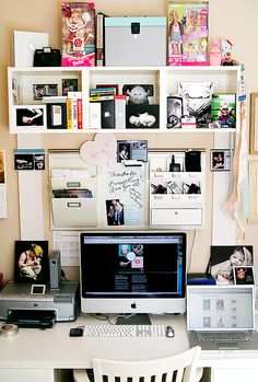WORKSPACE -love this idea for creativity and STORAGE up above that isn't right at eye-level when sitting down