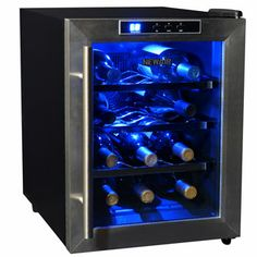 NewAir AW-121E 12 Bottle Countertop Thermoelectric Wine Cooler. http://www.air-n-water.com/product/aw-121e-bl.htm