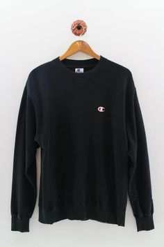 c52d9c4db6e4 CHAMPION Crewneck Sweatshirt Unisex Large Champion USA Pullover Sweater  Champion Authentic Athletic Apparel Black Jumper Size L