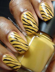 Zebra Stripe Nail Art Design #yellow #animalprint #stripes #wild #nailart #nails - bellashoot.com