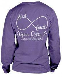 Alpha Delta Pi T-shirt change to baby bulls in the infinity sign? add university of delaware instead of sisterhood week