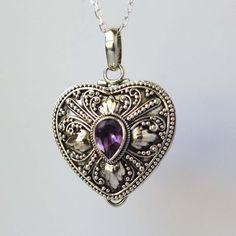 Purple Amethyst Heart Shape Locket Sterling Silver Keep Sake Necklace PL14: Handmade