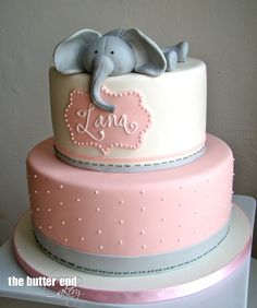 Pink and grey elephant baby shower cake by The Butter End Cakery