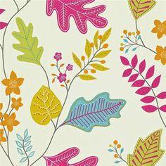 Linen / Lipstick / Aqua / Lime - 110298 - Lacarno - Folia - Harlequin Wallpaper