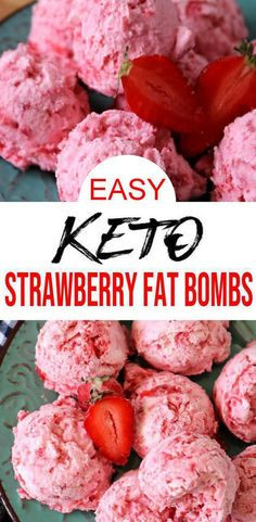 5 Ingredient Keto Strawberry Fat Bombs – BEST Cream Cheese Strawberry Fat Bombs – NO Bake – Easy NO Sugar Low Carb Recipe - lowcarbdiet Keto Foods, Ketogenic Diet Meal Plan, Diet Plan Menu, Diet Meal Plans, Ketogenic Recipes, Keto Snacks, Low Carb Recipes, Diet Recipes, Healthy Recipes