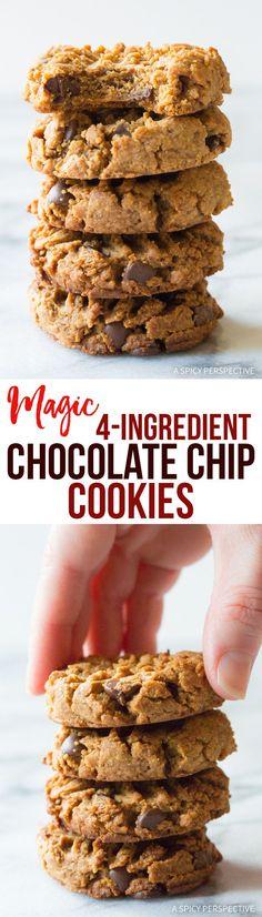 Must Try! Magic 4-Ingredient Chocolate Chip Cookies Recipe #healthy #lowcarb #glutenfree #paleo #vegan