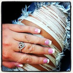 New nails-- decided on the more natural look but always gotta have some bling.  #nails #nailart #nailartdesign #naildesign #bling #nailartclub #jeans #rippedjeans #ripped #cute #fashion #classy #trendy