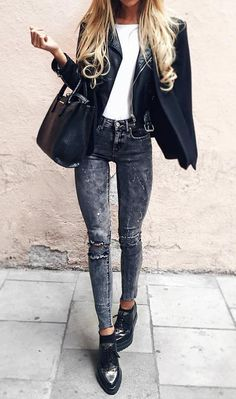 #fall #fashion ·  White Top + Black Leather Jacket + Grey Skinny Jeans