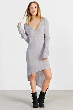 Women's Grey Sweater Dress, Grey Suede Over The Knee Boots, Beige Leather Tote Bag, Grey Plaid Scarf Grey Sweater Dress, Long Sleeve Sweater Dress, Knit Dress, Urban Dresses, Dress Me Up, Vintage Dresses, Casual Dresses, Clothes For Women, Sweaters
