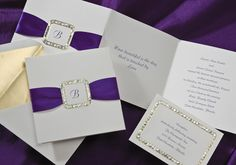 Wedding Invitations simply tuck the included purple satin ribbon strip into the die-cut buckle. The buckle is foil stamped to resemble rhinestones and is surrounded by gold foil.by Wedding Invitations -The Office Gal