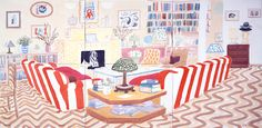 David Hockney Interior With Lamp, 2003  watercolor on paper (6 sheets), 39 1/4 x 75 3/8 in #david_hockney