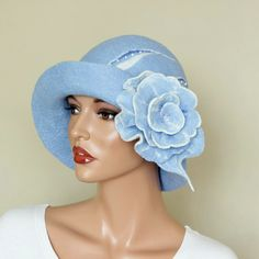 Felted hat blue Light blue hat Decorated blue hat ♥ by ZiemskaArt, $99.00