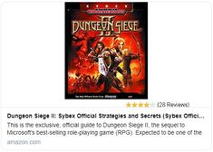 Dungeon Siege II: Sybex Official Strategies and Secrets Pc Games, Games To Play, Vintage Video Games, Toys For Boys, The Expanse, The Secret, This Book, Things To Sell, Rpg