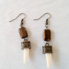Tiger Tooth Tiger EyeTribal Earrings by Earthcentricity on Etsy