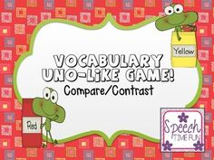 """Practice comparing and contrasting with this popular card game.  Students must express how the terms on the card they are """"throwing down"""" are alike and different.  Like this download?  Check out the complete <a href=""""http://www.teacherspayteachers.com/Product/Vocabulary-UNO-Like-Card-Game-445126"""">Vocabulary</a> and <a href=""""http://www.teacherspayteachers.com/Product/Grammar-UNO-Like-Card-Game-445129"""">Grammar</a> game packs at my TpT store!"""
