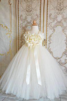 Ivory Hydrangea Flower girl tutu dress